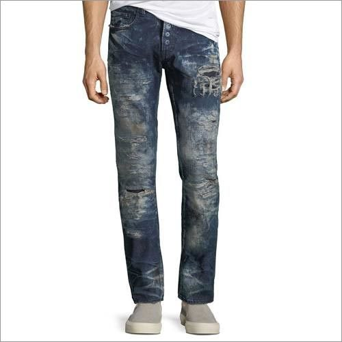 Mens Rip Repaired Bleached Slim Leg Jeans