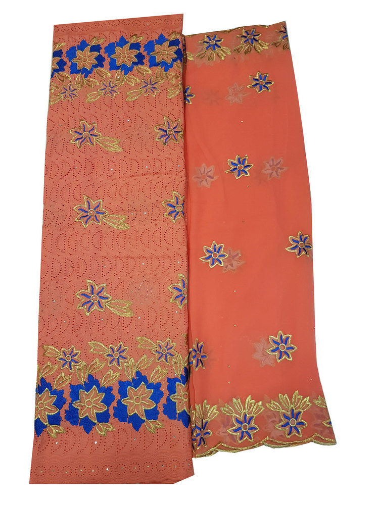 Cotton Dry Lace Fabric with Color Orange with Cotton Embroidery