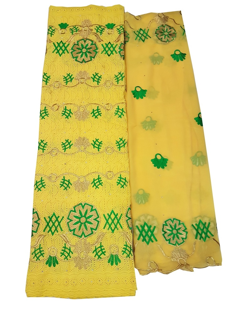 Cotton Dry Lace Fabric with  Yellow Color with Cotton Embroidery