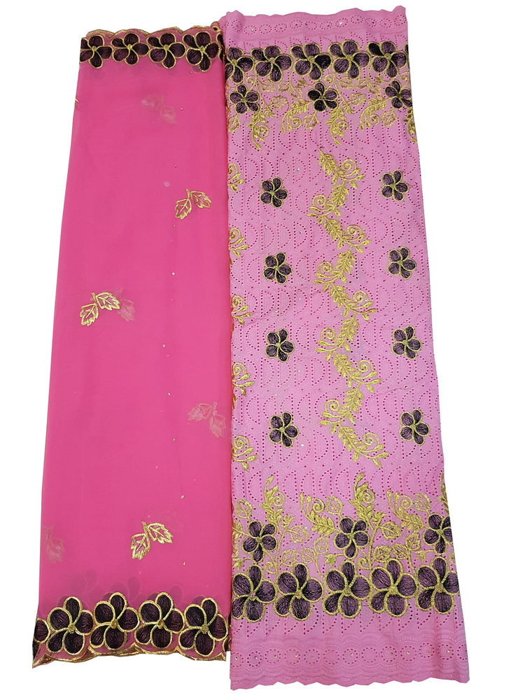 Cotton Dry Lace Fabric with Pink Color with Cotton Embroidery