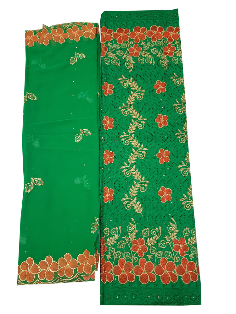 Cotton Dry Lace Fabric with Green Color with Cotton Embroidery