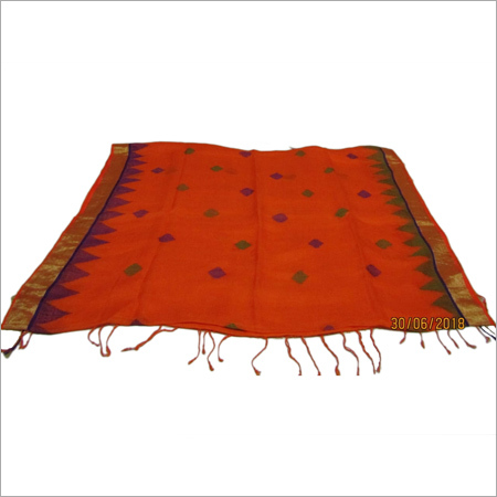 Ladies Orange Linen Jamdani Sarees