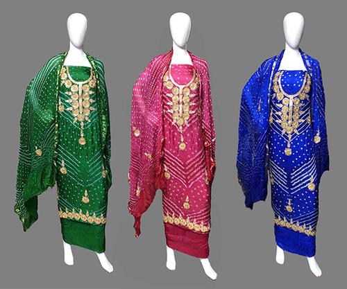 Gota Patti Neck Work Art Silk Dress Material
