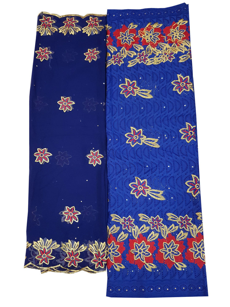 Blue Embroider Cotton Dry Lace Fabric