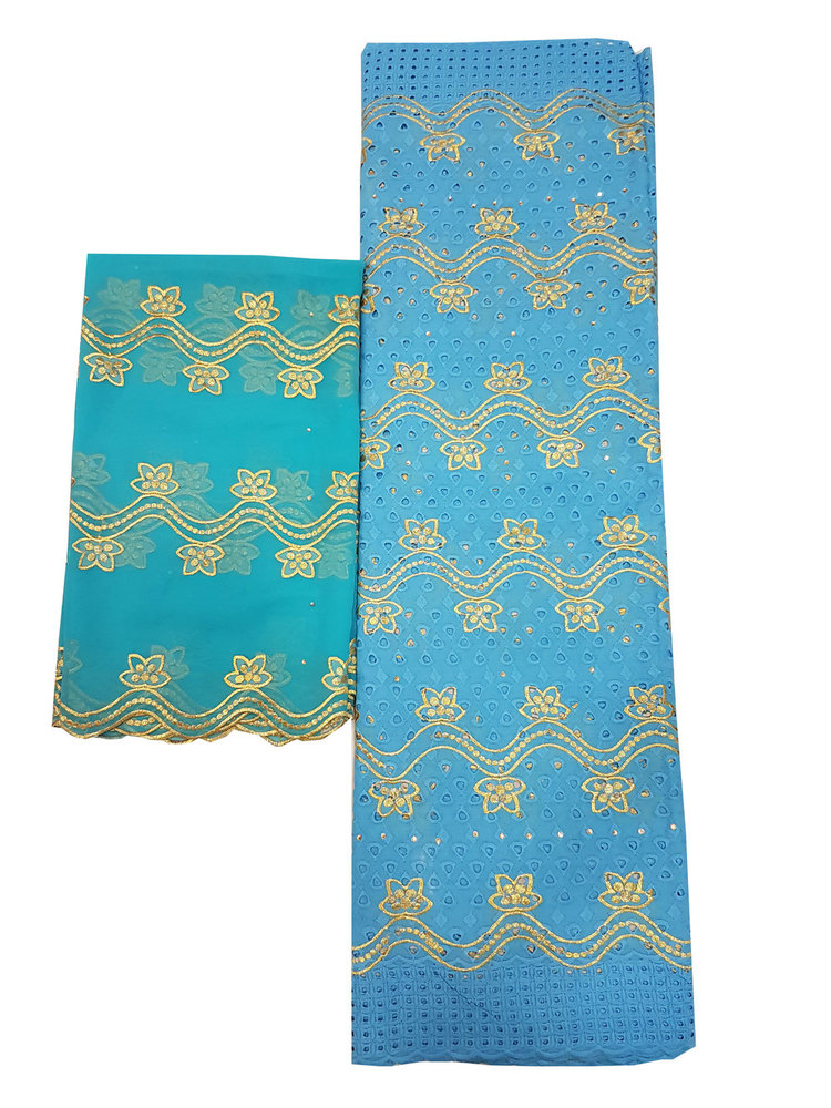 Cotton Dry Lace Fabric with Blue Color with Cotton Embroidery