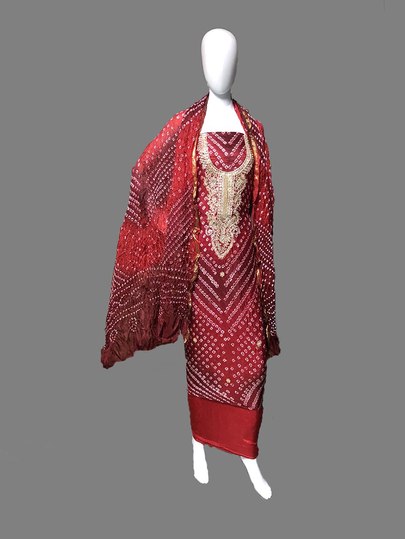 Heavy Neck Work Handmade Bandhej Dress Material