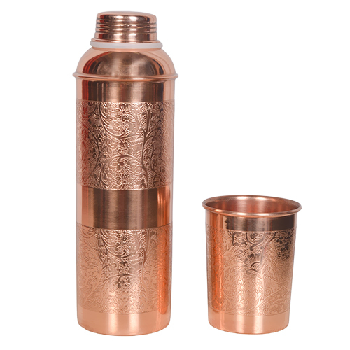 Copper Water Bottle With Glass