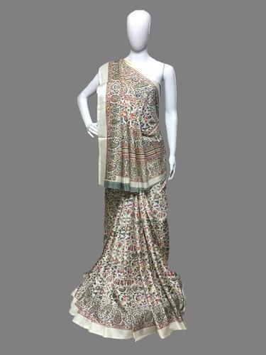 Flower Print Manipuri/Lilen Chanderi Silk Saree