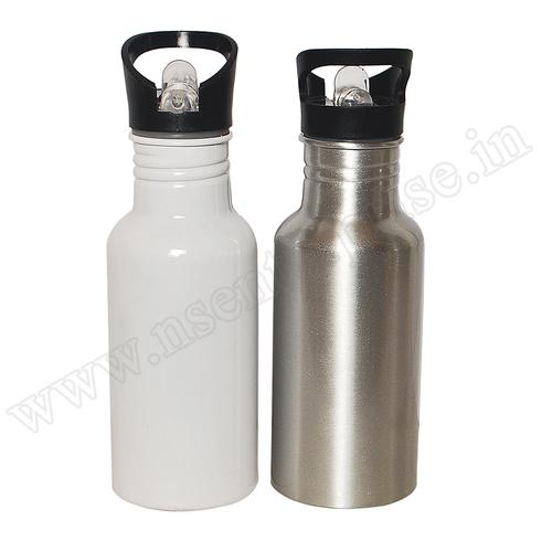 Straw White & Silver Bottle