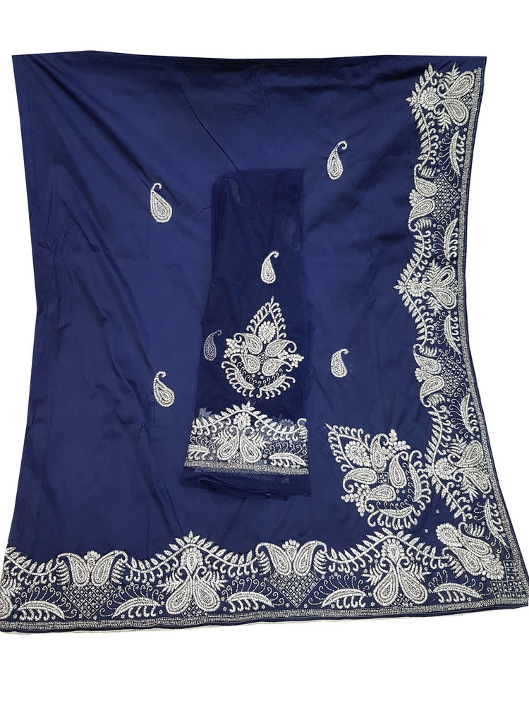 African George, Blue Color with Silk Embroidery