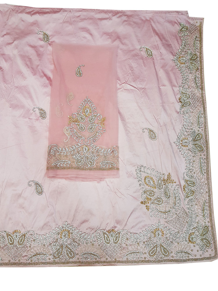 African George, Light Pink Color with Silk Embroidery
