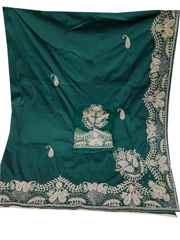 African George, Green Color with Silk Embroidery