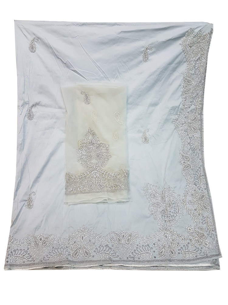 African George, Silver Grey Color with Silk Embroidery