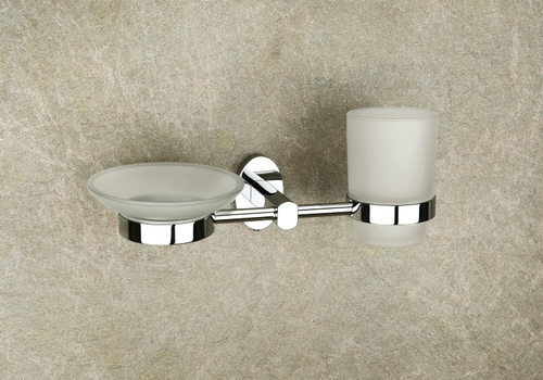 Brass Glass Soap Dish & Tumbler Holder (Combo)