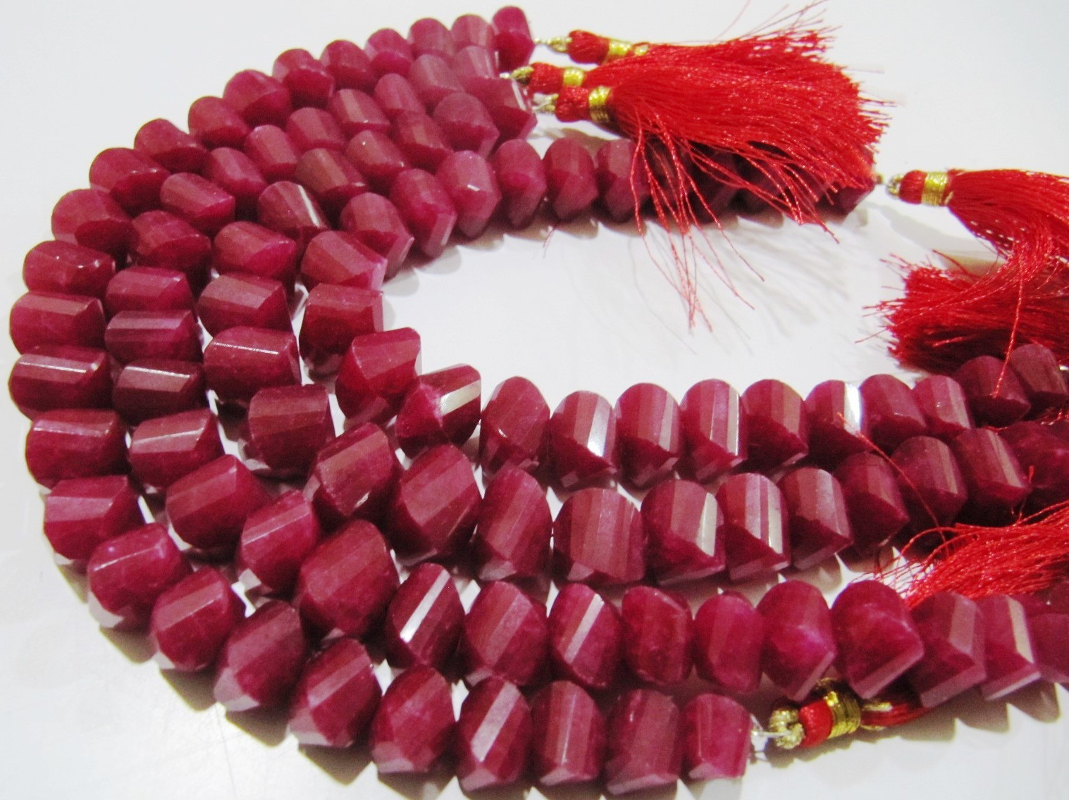 Natural Ruby Twisted Briolette Dyed Beads