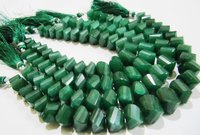 Natural Emerald Twisted Briolette Dyed Beads