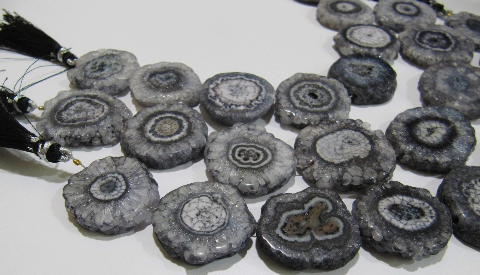 Fabulous Gray Solar Quartz Beads Size 25mm Gray Beads