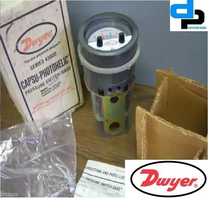 Dwyer Series 43002 Capsu-Photohelic Pressure Switch Gage 0-2.0