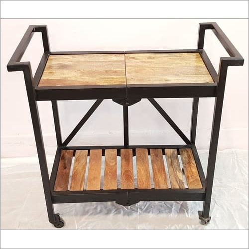 Natural Wood Folding Trolley