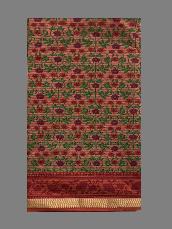 Flower Print With Golden Border Cotton Saree
