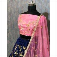 Designer Pink Blue Lehenga Choli
