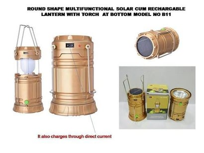 Golden Brown Led Rechargeable Solar Camping Lantern