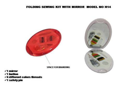 Oval Sewing Kit Folding Mirror