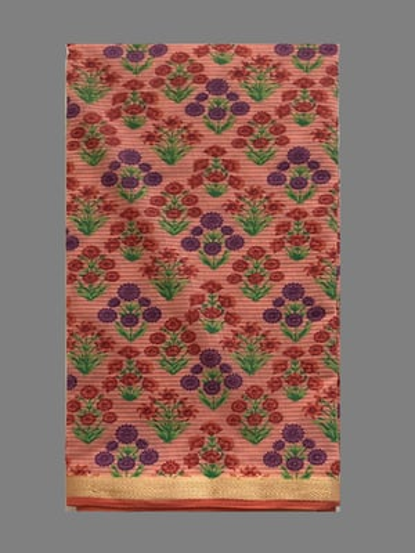 Golden Border Flower Print Saree