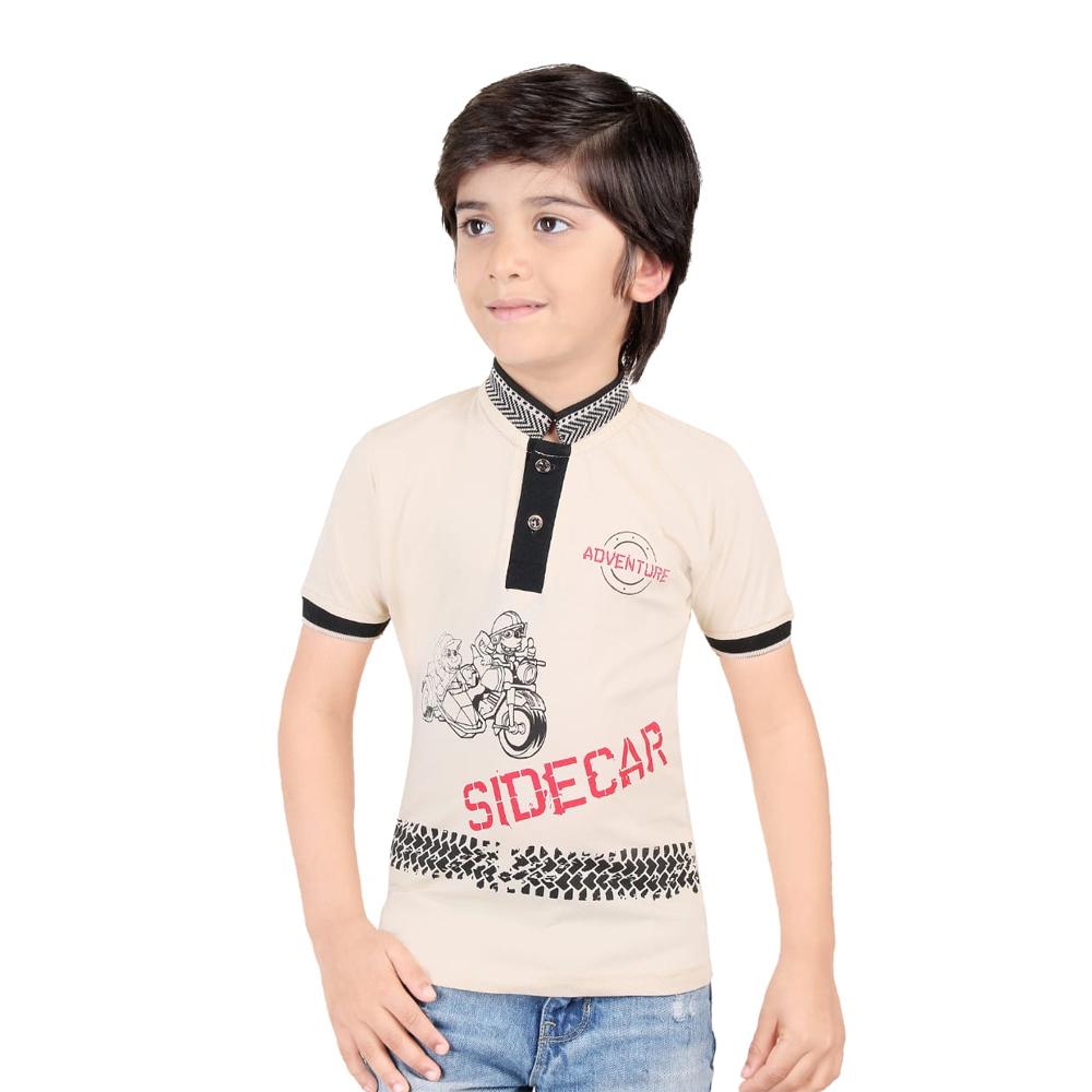Kids Printed Henley Neck T Shirt