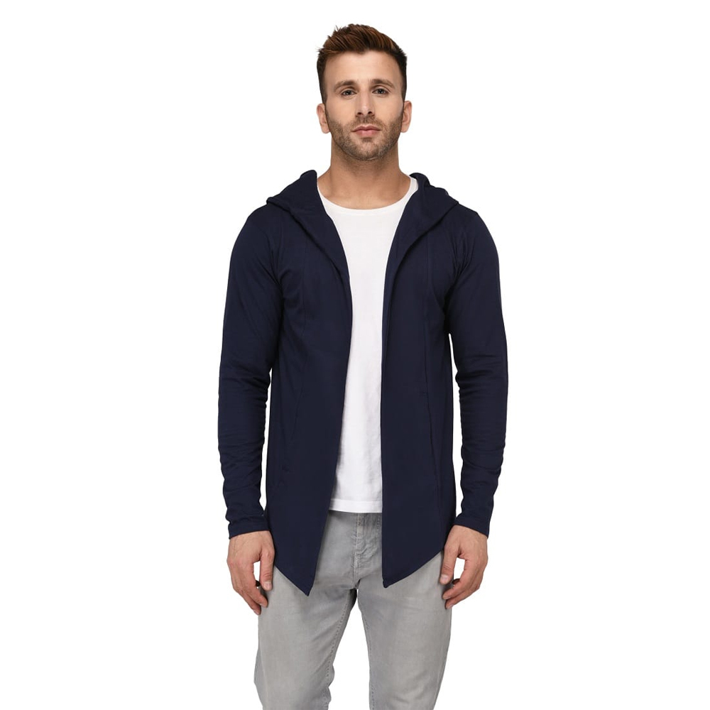 Men's Hooded Navy Blue Shrug