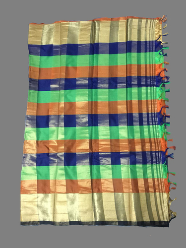 Chex With Golden Border Handloom Silk Saree