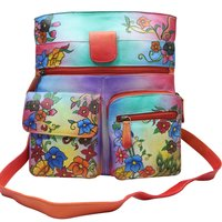 Women Hand Painted Cross Body Sling Bag Stylish Floral Designer Leather Shoulder Vanity Purse with Mobile Case and Zip Pockets