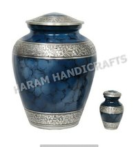 Grecian Blue Brass Urn Set