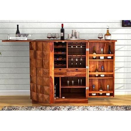 Auric Bar Cabinet Teak Look