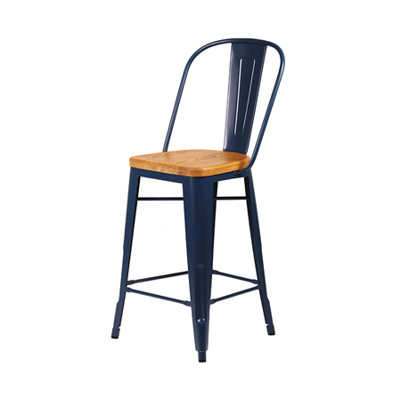 Cali 955 Metal Bar Stool With Wood Seat