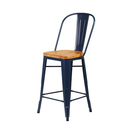 Cali 955 Metal Bar Stool With Wood Seat