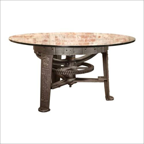 Vintage Industrial Center Gear Round Table Base