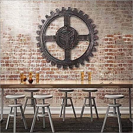 Wooden Gear Wall Decoration Metal Looking