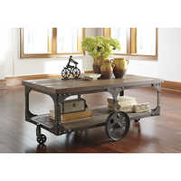 Attractive Gray Rectangle Industrial Wood Cart Coffee Table