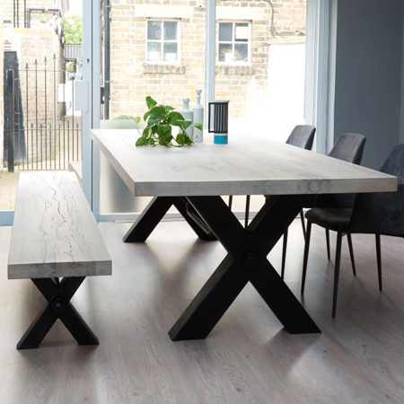 Bolt Industrial Wood Metal Leg Dining Table And Bench