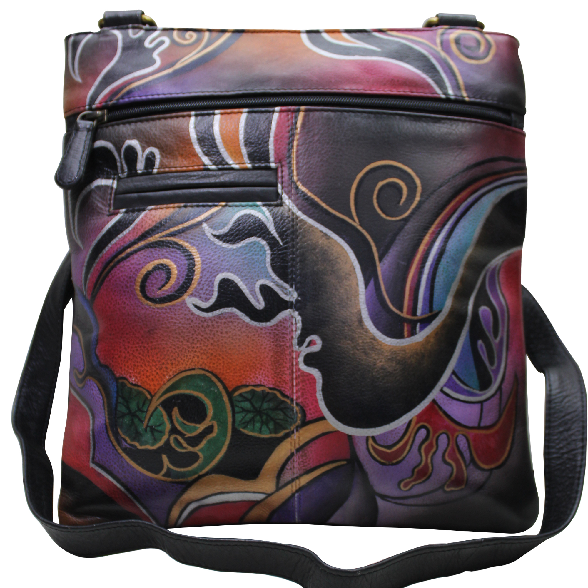 Women Hand Painted Leather Cross Body  Bag