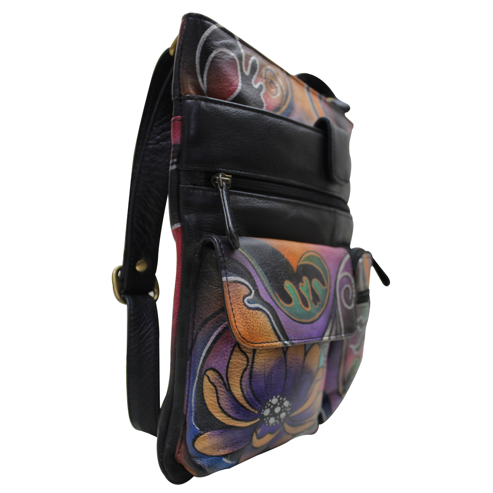 9bdcaf32a290a Women Hand Painted Cross Body Sling Bag Stylish Abstract Designer Leather  Shoulder Vanity Purse with Mobile Case and Zip Pockets