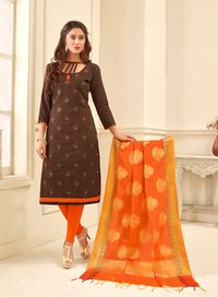 Designer Embroidered Cotton Suit