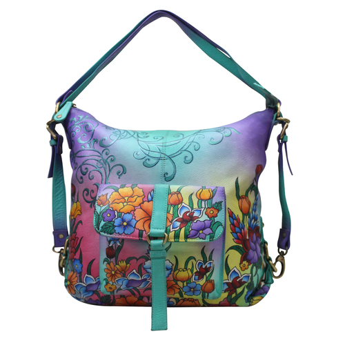 Leather hand Painted Shoulder Bag Backpack