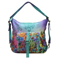 Leather hand Painted Shoulder Bag Backpack