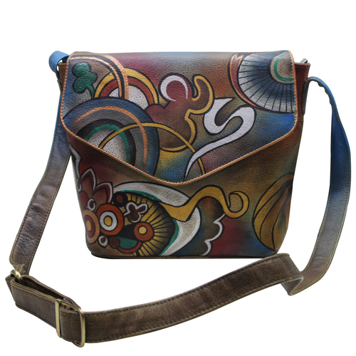 Women Hand Painted Cross Body Sling Bag Stylish Abstract Designer Leather Shoulder Vanity Purse with Mobile Case and Zip Pockets