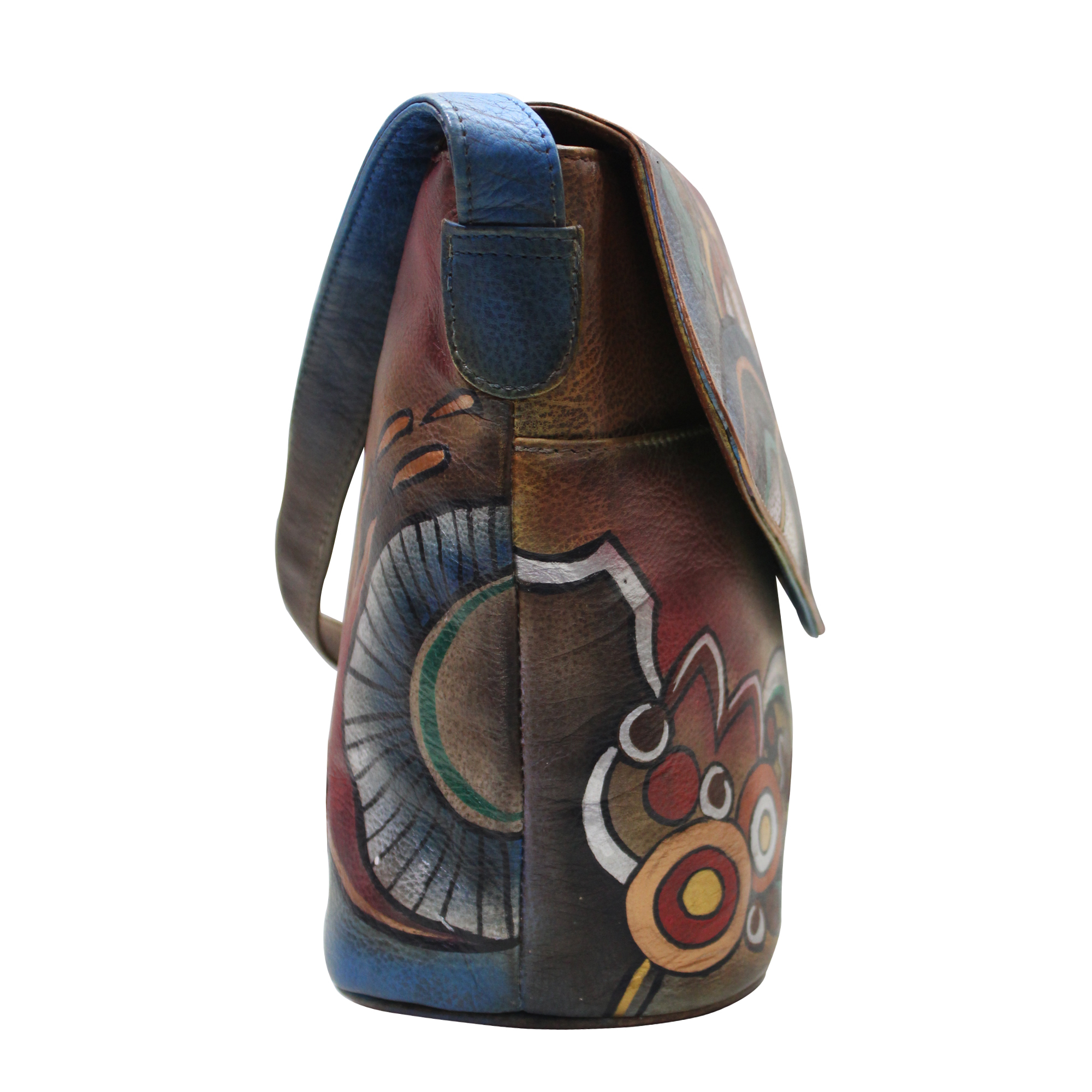 Women Hand Painted Leather Sling Bag