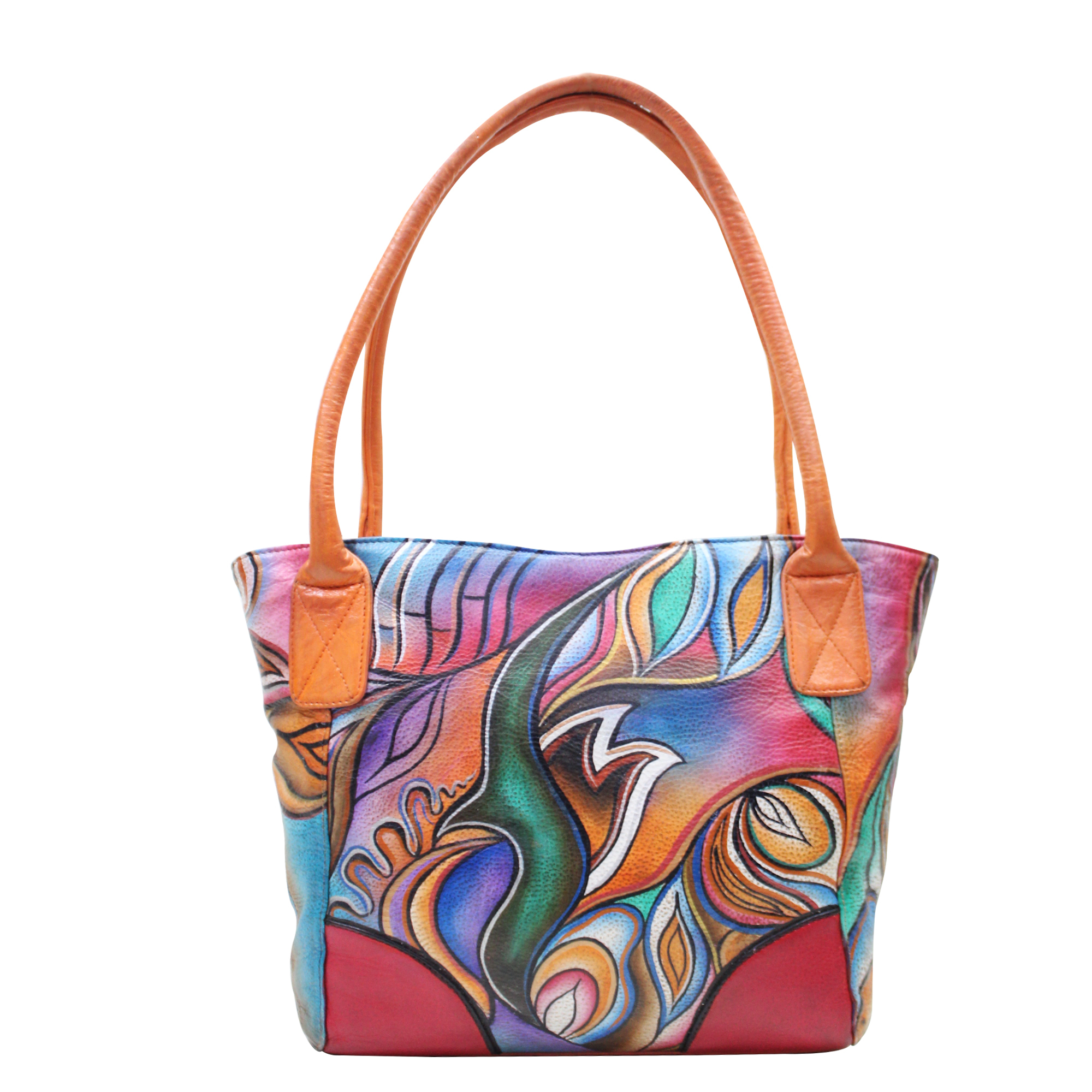Women Leather Hand Painted Tote Shoulder Bag