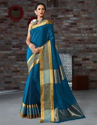 Fancy Printed Cotton Silk Saree