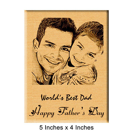 Father's Day Gift - Personalized Engraved Photo Plaque Wood